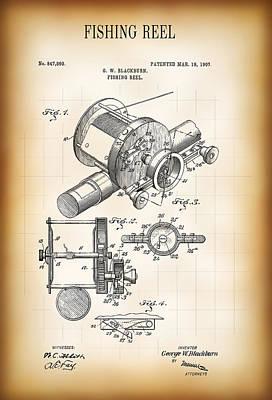 Fishing Reel Patent  1907 Poster by Daniel Hagerman