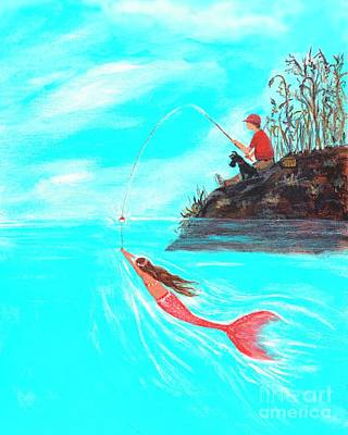 Poster featuring the painting Fishing Surprise by Leslie Allen