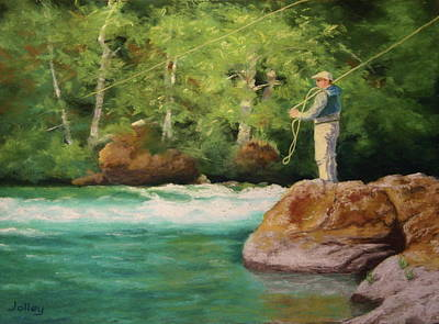 Fishing The Umpqua Poster by Nancy Jolley