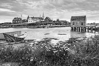 Fishing Village In Black And White - Nova Scotia Poster