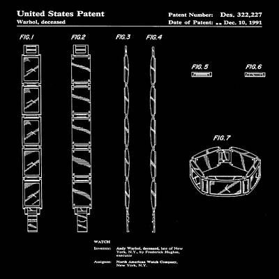 Five Face Watch Patent By Andy Warhol In Black Poster by Bill Cannon