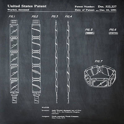Five Face Watch Patent By Andy Warhol In Chalk Poster by Bill Cannon