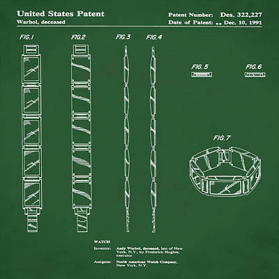 Five Face Watch Patent By Andy Warhol In Green Poster by Bill Cannon