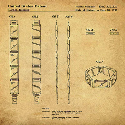 Five Face Watch Patent By Andy Warhol In Sepia Poster by Bill Cannon