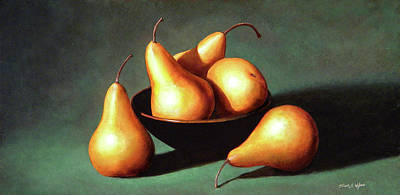 Five Golden Pears With Bowl Poster by Frank Wilson