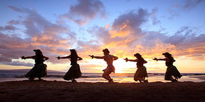Five Hula Dancers At Sunset Poster