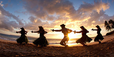 Five Hula Dancers On The Beach Poster