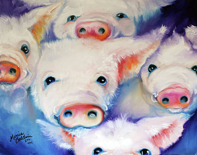 Five Little Squeals Poster by Marcia Baldwin