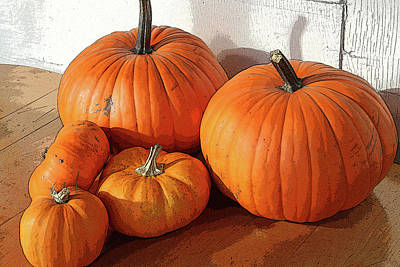 Five Pumpkins Poster