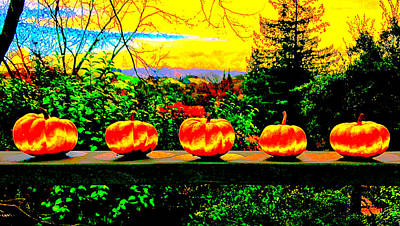 Five Pumpkins Poster by Cadence Spalding