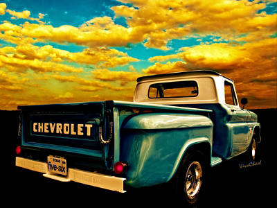 Five-six Chevy Pickup And The Golden Sky Poster