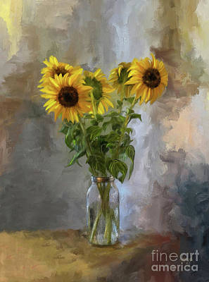 Five Sunflowers Centered Poster