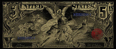 Poster featuring the digital art Five U.s. Dollar Bill - 1896 Educational Series In Gold On Black  by Serge Averbukh