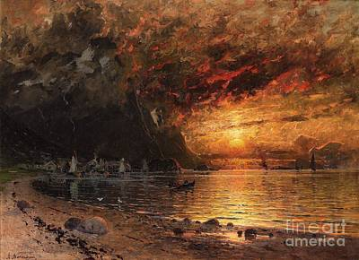 Fjord Landscape With Midnight Sun Poster by Celestial Images
