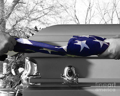 Flag For The Fallen - Selective Color Poster by Al Powell Photography USA