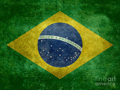 Flag Of Brazil Vintage 18x24 Crop Version Poster by Bruce Stanfield