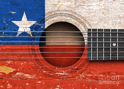 Flag Of Chile On An Old Vintage Acoustic Guitar Poster by Jeff Bartels