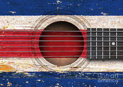 Flag Of Costa Rica On An Old Vintage Acoustic Guitar Poster