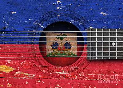 Flag Of Haiti On An Old Vintage Acoustic Guitar Poster