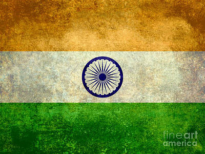 Flag Of India Vintage 18x24 Crop Version Poster by Bruce Stanfield