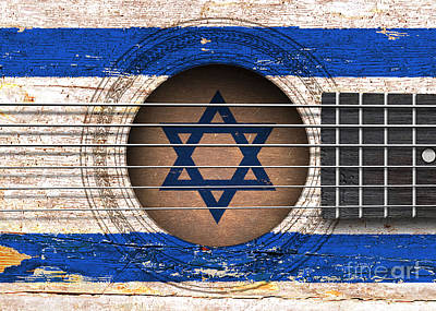 Flag Of Israel On An Old Vintage Acoustic Guitar Poster