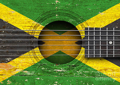 Flag Of Jamaica On An Old Vintage Acoustic Guitar Poster by Jeff Bartels