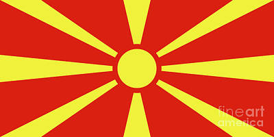 Poster featuring the digital art Flag Of Macedonia by Bruce Stanfield