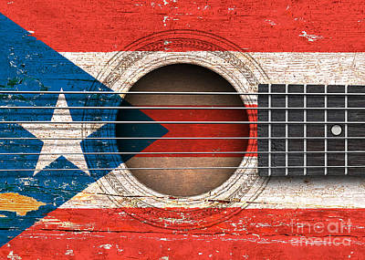 Flag Of Puerto Rico On An Old Vintage Acoustic Guitar Poster