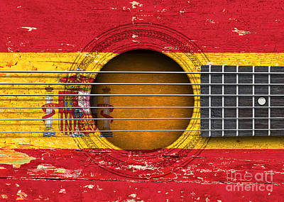 Flag Of Spain On An Old Vintage Acoustic Guitar Poster by Jeff Bartels