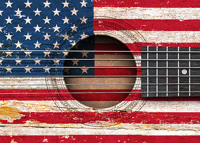 Flag Of The United States On An Old Vintage Acoustic Guitar Poster by Jeff Bartels