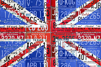 Flag Of United Kingdom Great Britain Union Jack From Recycled Vintage American License Plates Poster by Design Turnpike