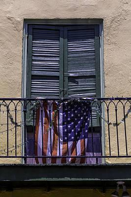 Flag On Wrought Iron Rail Poster