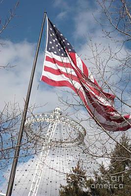 Flag Over Spokane Pavilion Poster by Carol Groenen