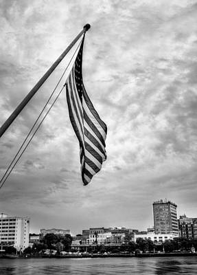 Flag Over Wilmington In Black And White Poster