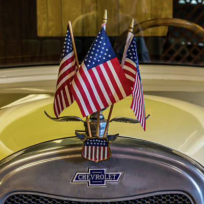 Flags And Chevy Poster by Paul Freidlund