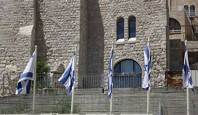 Poster featuring the photograph Flags At The Kotel by Julie Alison