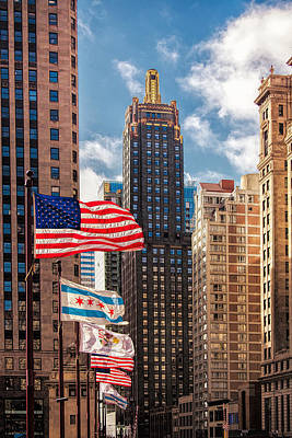 Flags Over Chicago Poster by Andrew Soundarajan