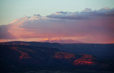 Poster featuring the photograph Flagstaff's San Francisco Peaks Snowy Sunset by Ron Chilston