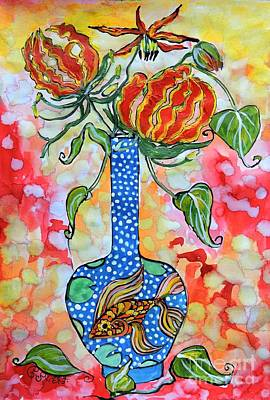 Flame Lily In Goldfish Vase Poster by Caroline Street