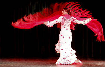 Flameco Dancer With Swirling Red Scarf Poster by David Smith