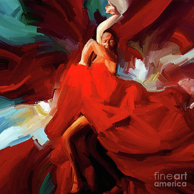 Poster featuring the painting Flamenco Dance 7750 by Gull G