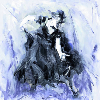 Poster featuring the painting Flamenco Dancer Art 45h by Gull G
