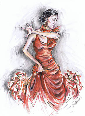 Flamenco Dancer In Red Poster by Jill Bennett