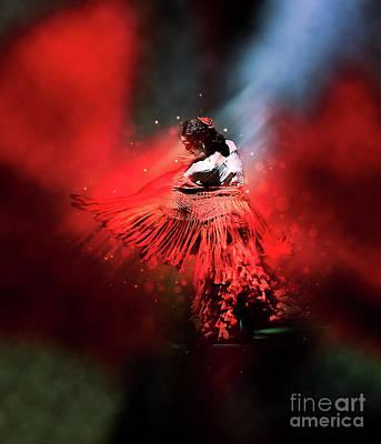 Flamenco Dancer In Red Poster