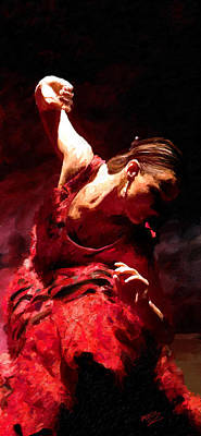 Poster featuring the painting Flamenco Poise by James Shepherd