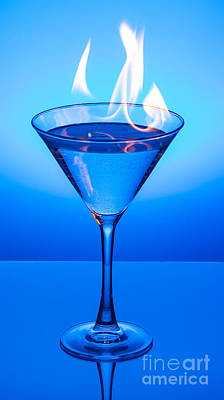 Flaming Blue Martini Poster