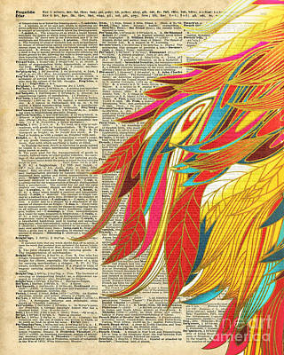 Flaming Colourful Feathers Poster