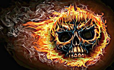 flaming skull Punk Gothic Biker Art Poster