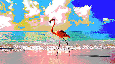 Flamingo At Sunset Poster by Charles Shoup