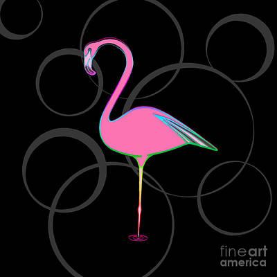 Flamingo Bubbles No 1 Poster